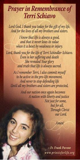 Picture of Prayer in Remembrance of Terri Schiavo